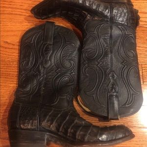Los Altos Caiman Tail J Toe Western Boots Size 8EE